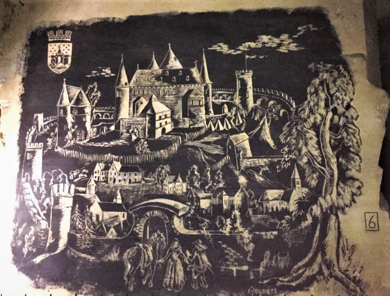 Die Hoehenburg Valkenburg als Zeichnung im Mergelgestein der Fluweelengrotte