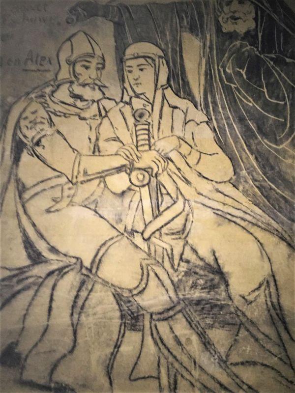 Bild von Walram und Alixe, das auf die Mergelwand der Fluweelengrotte in Valkenburg gemalt wurde.