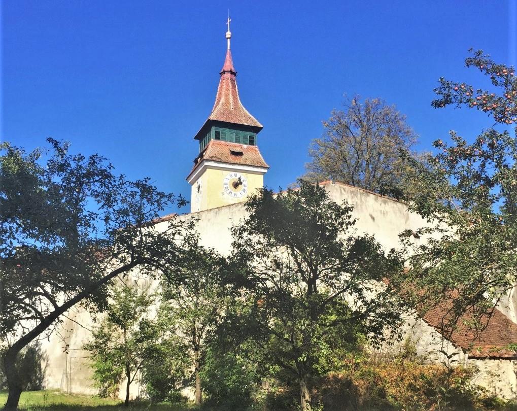 Kirchturm und Ringmauer der Kirchenburg in in Wolkendorf