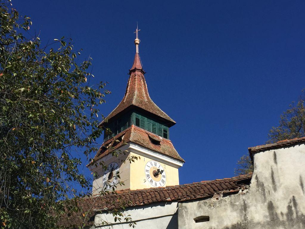 Kirchturm der evangelischen Kirche der Siebenbuergisch-saechsischen Gemeinde in Wolkendorf
