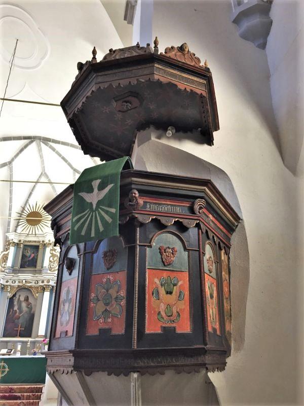 barocke Kanzel in der Wehrkirche in Keisd / Saschiz, Siebenbuergen