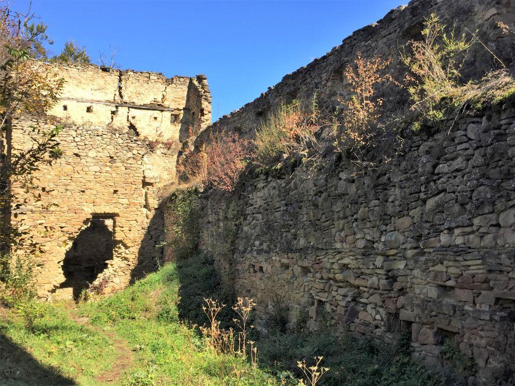 Ruine der Bauernburg von Keisd / Saschiz in Siebenbuergen