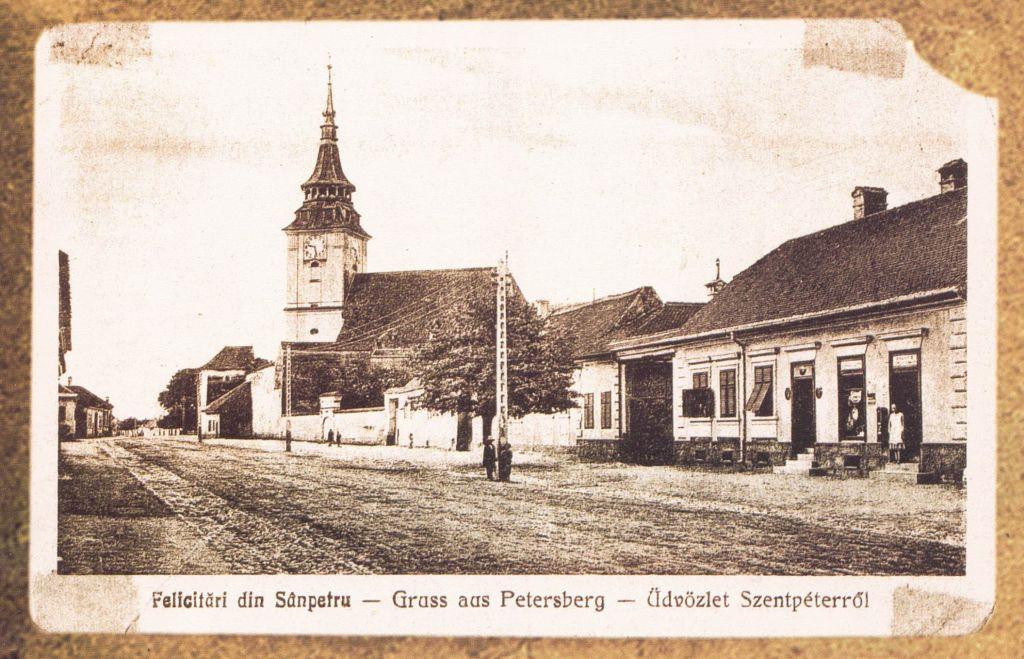 nostalgische Postkarte von Sanpetru, Siebenbuergen
