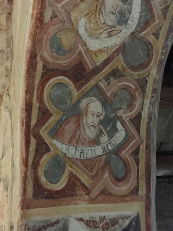 Wandmalerei in der romanischen Kapelle der Kirchenburg von Petersberg, Sanpetru, Siebenbürgen