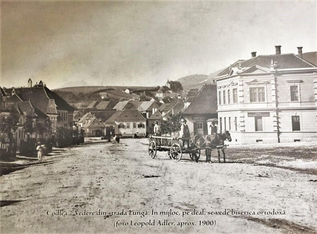 Postkarte aus dem Jahr 1900 mit der Stadtansicht von Zeiden / Codlea, Burzenland