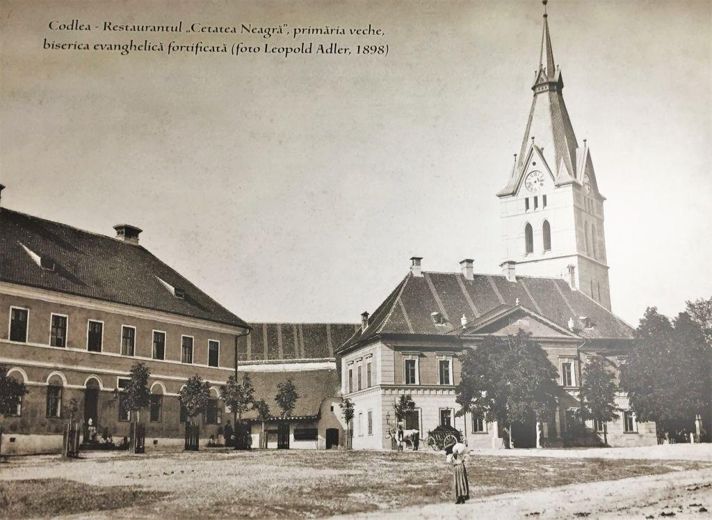 Postkarte aus dem Jahr 1898 mit der Stadtansicht von Zeiden / Codlea, Siebenbuergen