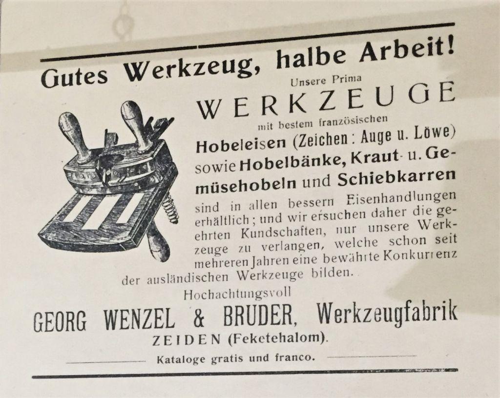 Antiquarisches Werbeplakat einer Werkzeugfabrik in Zeiden