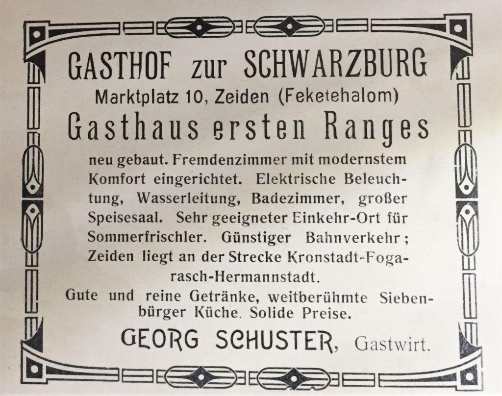 Werbeplakat des Gasthofs zur Schwarzburg in Zeiden