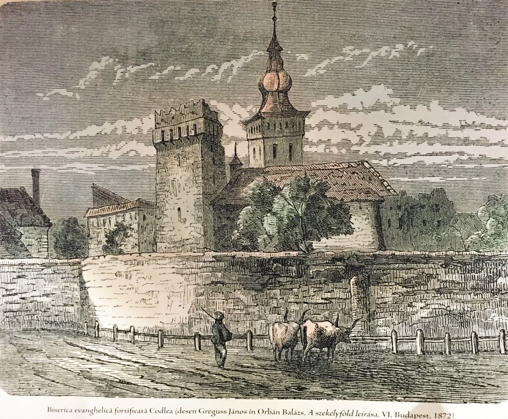 Radierung Zeiden / Codlea - Die Kirchenburg der Superlative