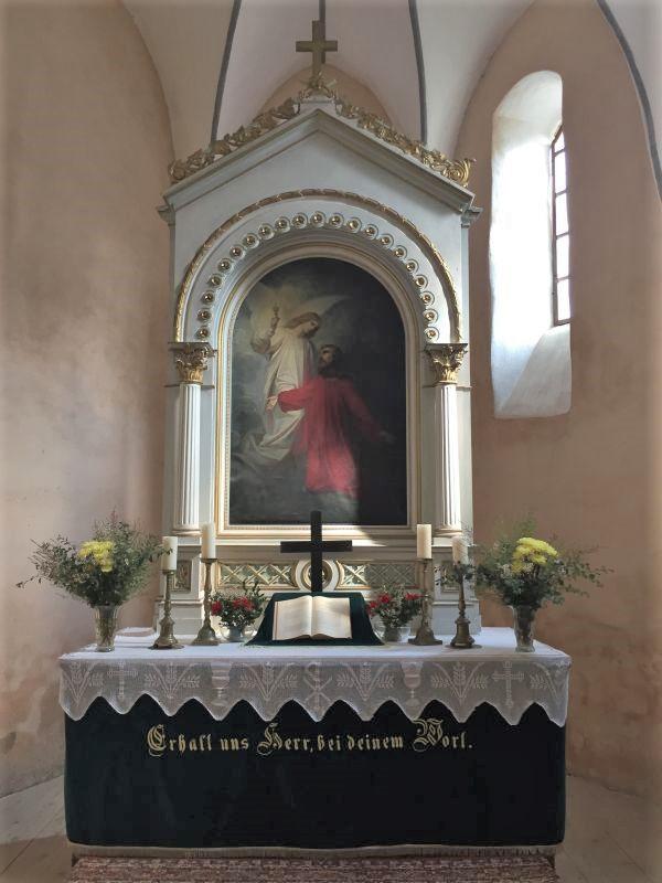 Altar von Carl Doerschlag aus dem Jahr 1868 in der Wehrkirche in Kleinschenk / Cincsor, Siebenbuergen
