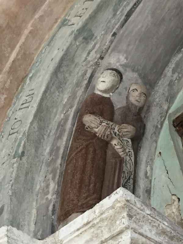 Detail des romanischen Portals der Kirche von Holzmengen, Hosman im Harbachtal