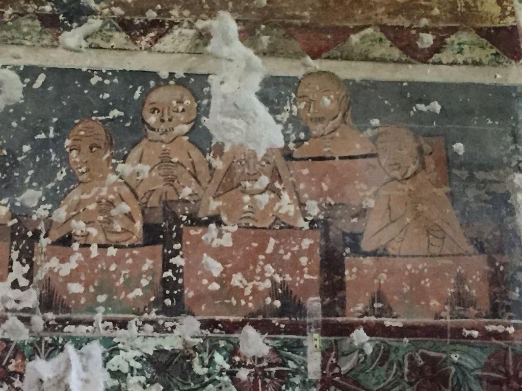 Fresko mit Szenen des Juengsten Gerichts im Ostturm der Kirchenburg von Honigberg