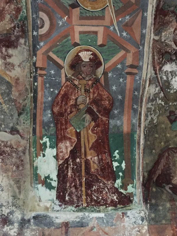 Fresko des Heiligen Jakobus im Ostturm der Kirchenburg von Honigberg