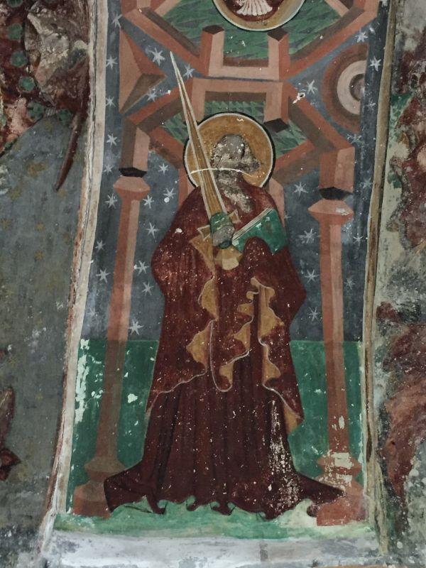 Fresko des Heiligen Paulus mit Glaubensschwert im Ostturm der Kirchenburg von Honigberg