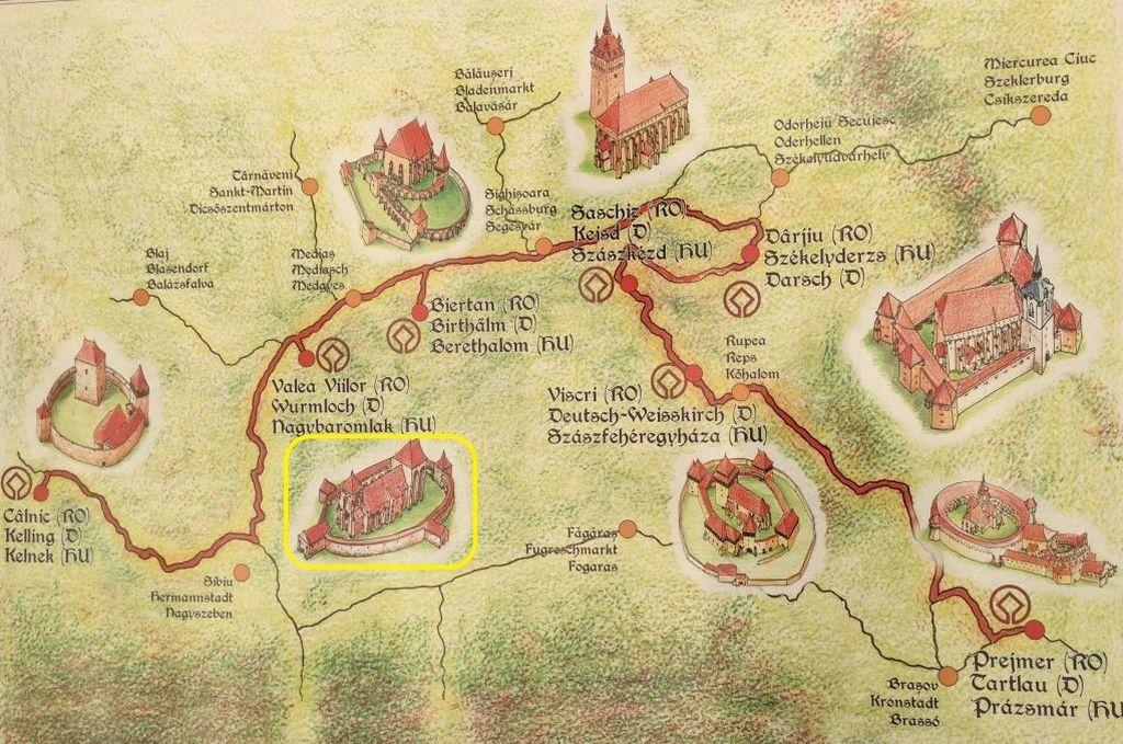 Uebersichtskarte zu den Kirchenburgen in Siebenbuergen (Rumaenien), die dem UNESCO-Weltkulturerbe angehoeren