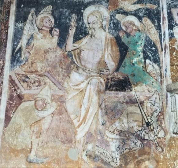 Auferstehung Jesu- Detail des Freskos an der Chorwand der sächsischen Wehrkirche von Malancrav