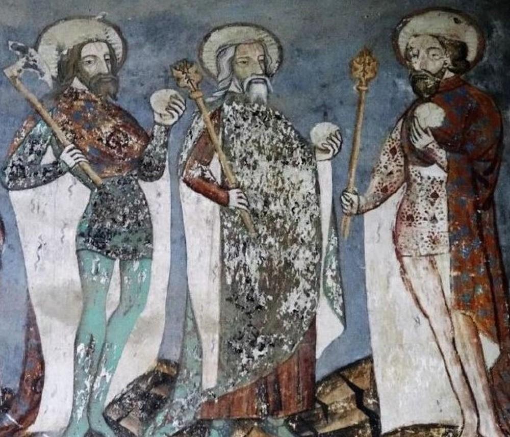 Der Heilige Ladislaus, Stefan und Ludwig IV. - Detail des Freskos an der Chorwand der sächsischen Wehrkirche von Malancrav