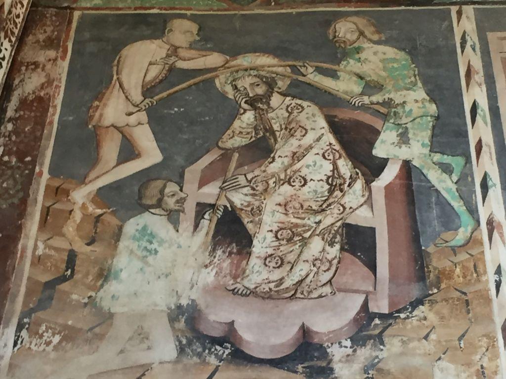 Jesus bekommt die Dornenkrone angelegt - Detail des Freskos an der Chorwand der Kirchenburg von Malmkrog