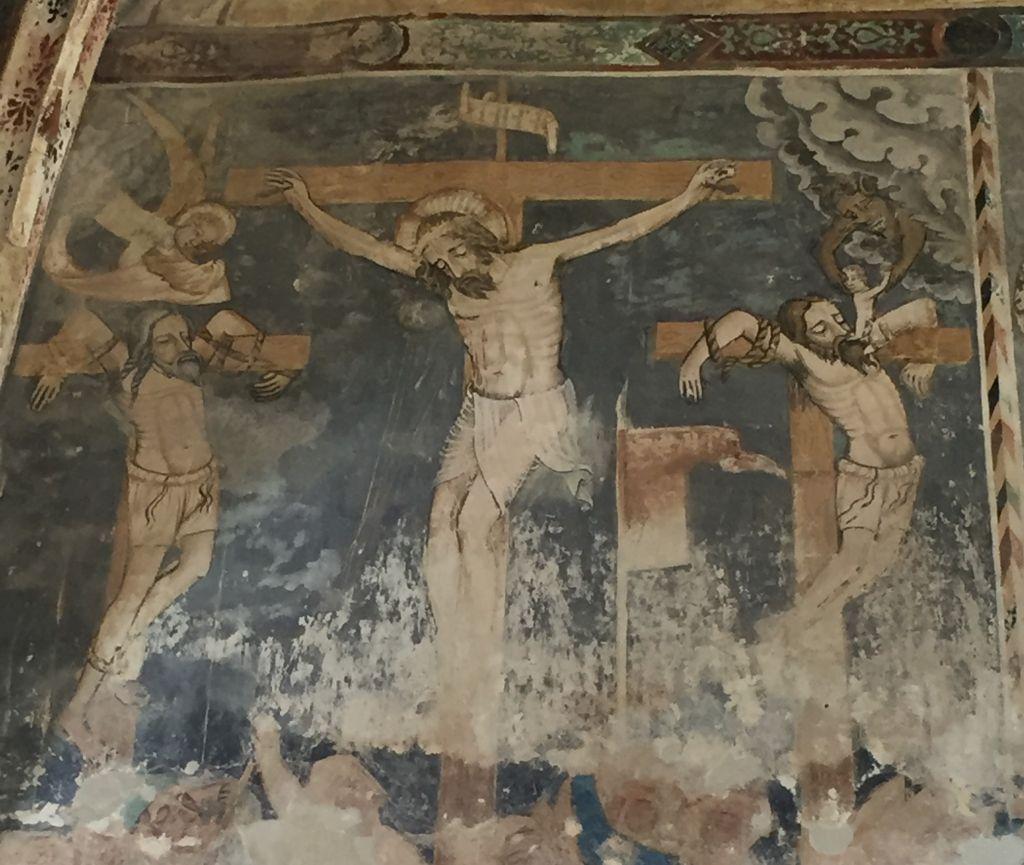 Kreuzigung Jesus - Detail des Freskos an der Chorwand der Kirchenburg von Malmkrog