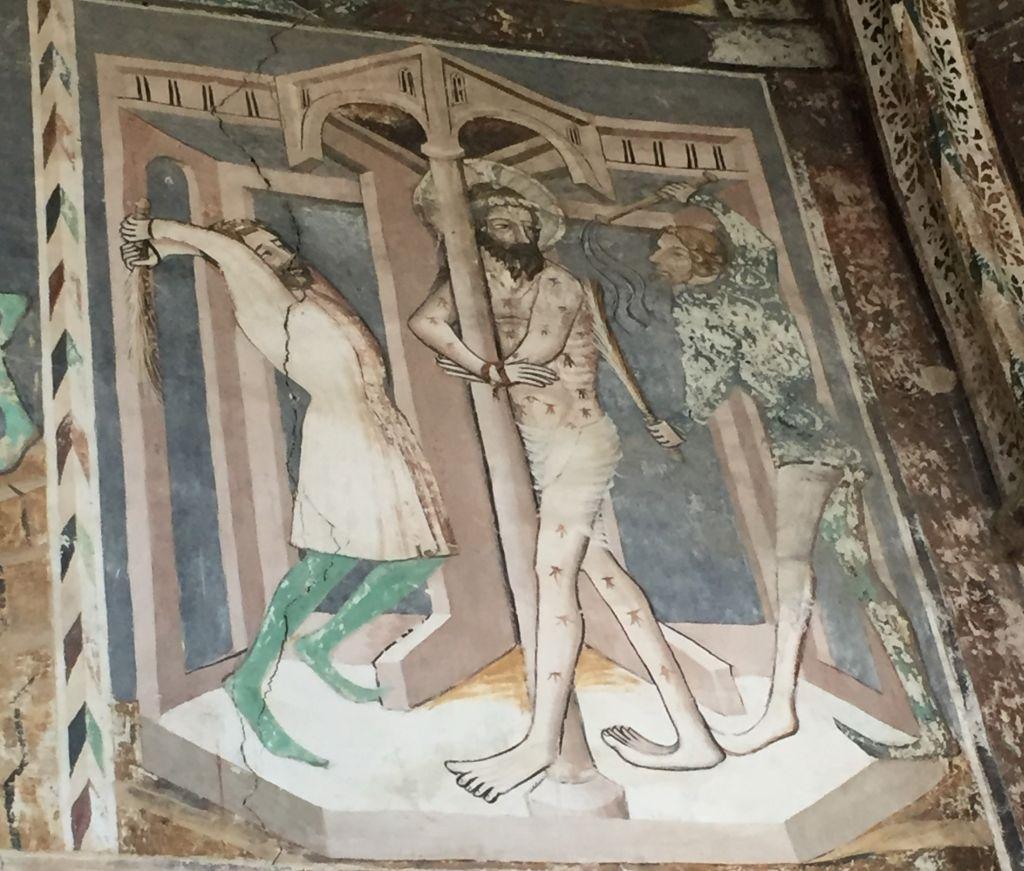 Geisselung Jesu - Detail des Freskos an der Chorwand der Kirchenburg von Malmkrog