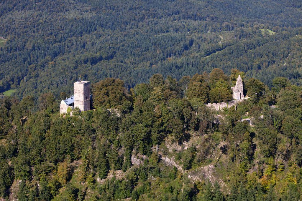 Blick aus der Vogelperspektive auf die Ruine Yburg im Rebland