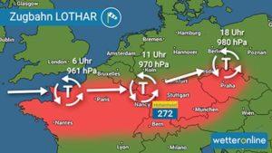 Wetterbild Orkantief Lothar