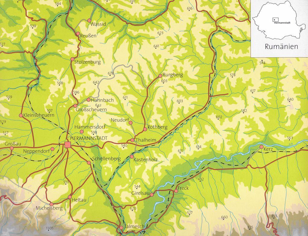 Uebersichtskarte aus dem Bildband Hermannstadt und das Alte Land
