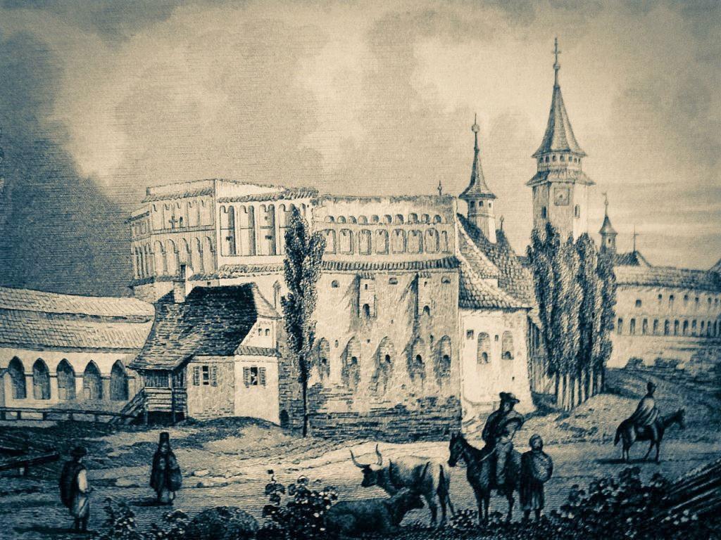 Stich Kirchenburg Tartlau von Ludwig Rohbock 1883