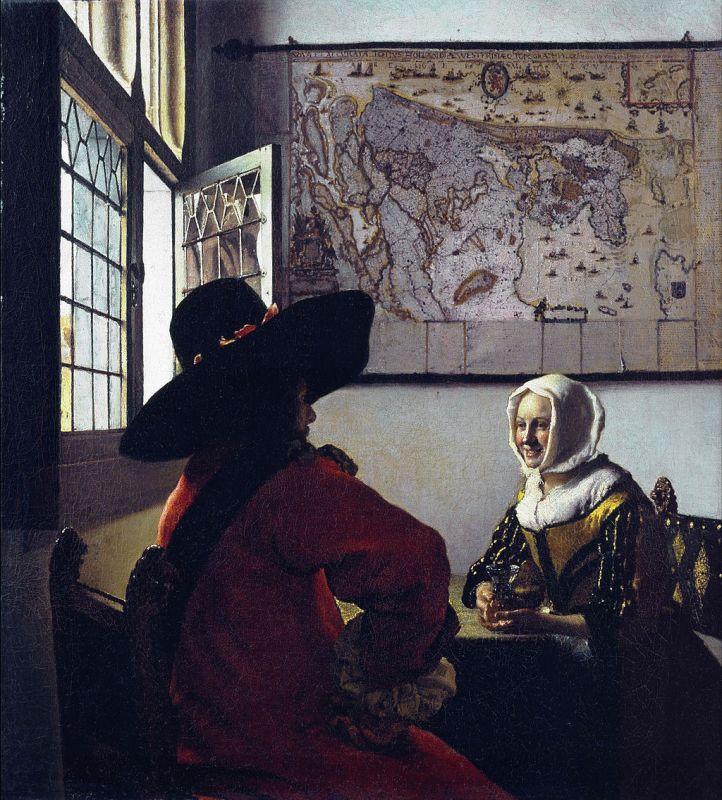 Jan Vermeer; Der Soldat und das lachende Maedchen (1658); Frick Collection, New York
