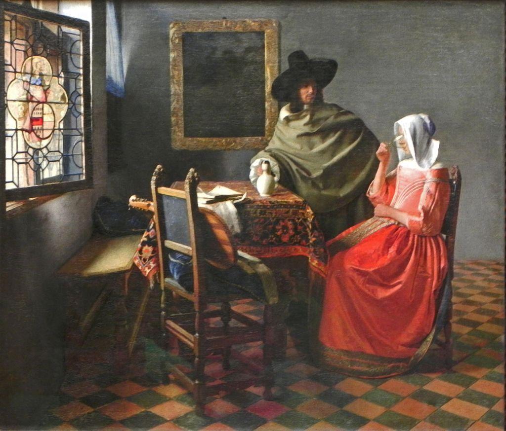 Jan Vermeer; Herr und Dame beim Wein (1658–1660); Gemaeldegalerie, Berlin