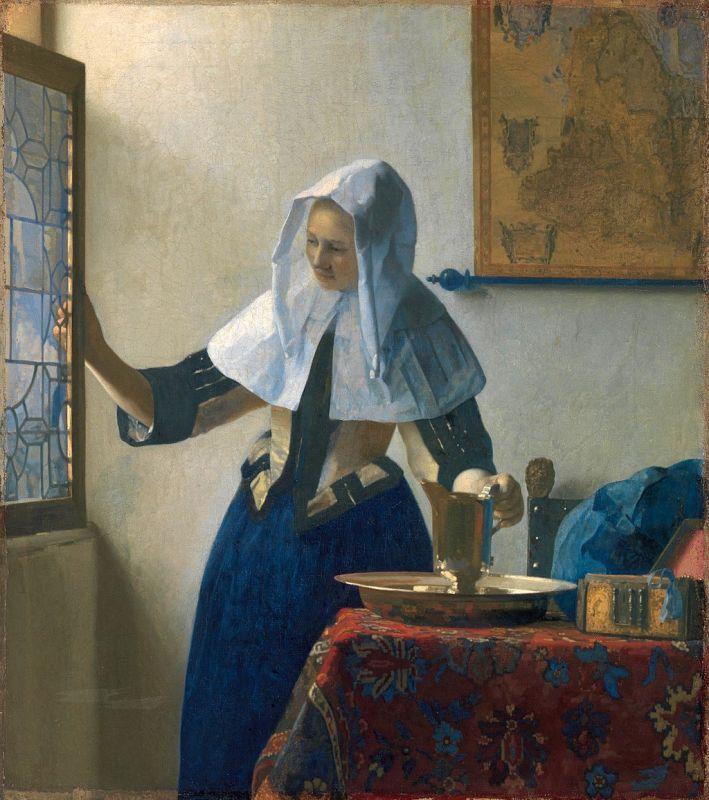 Jan Vermeer; Junge Frau mit Wasserkanne am Fenster (1664-1665); Metropolitan Museum of Art, New York