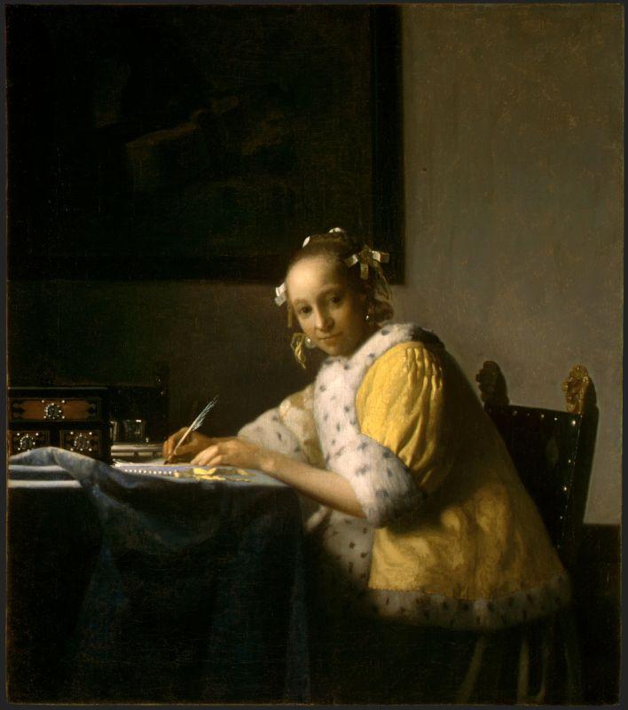 Jan Vermeer; Briefschreiberin in Gelb (1665-1670); National Gallery of Art, Washington D.C.