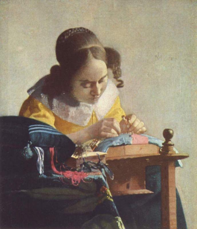 Jan Vermeer; Die Spitzenkloepplerin (1669/1670); Louvre, Paris