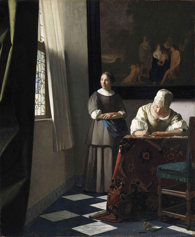 Jan Vermeer; Briefschreiberin und Dienstmagd (1670); National Gallery of Ireland, Dublin