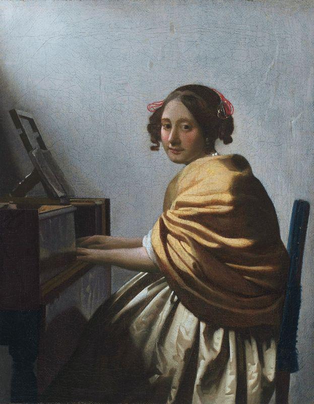 Jan Vermeer; Junge Frau am Virginal (1670); Privatsammlung