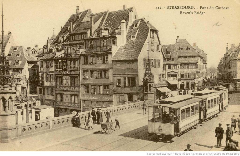 Postkarte mit Ansicht der Pont du Corbeau 1920 in Strasbourg