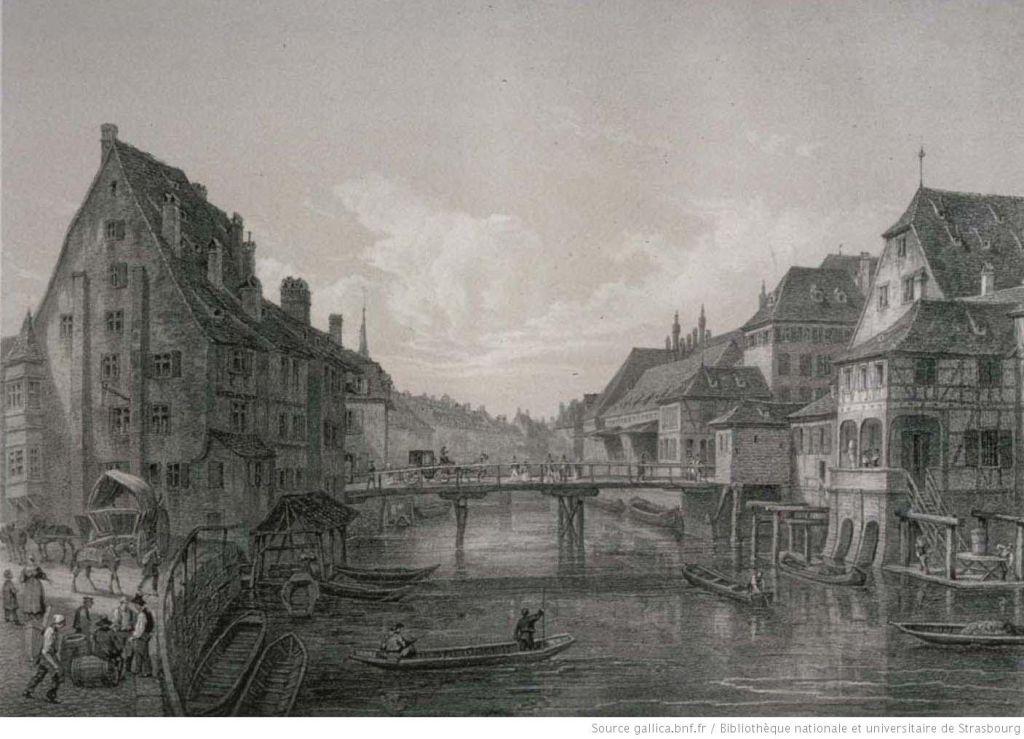 Lithografie der Pont du Corbeau 1855 in Strasbourg, Frankreich