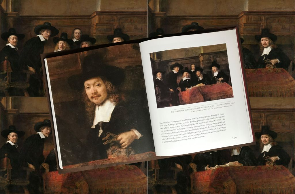 Buch Mensch Rembrandt mit dem Gemaelde Staalmeesters