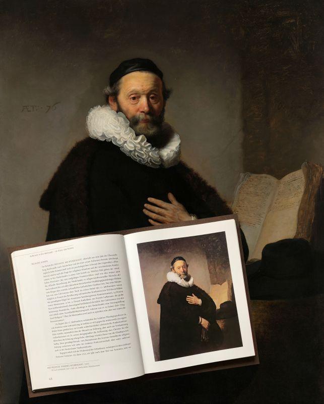 Der Prediger Johannes Wtenbogaert; Gemaelde von Rembrandt mit dem entsprechenden Foto aus dem Buch Mensch Rembrandt