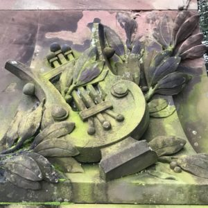 Detail des Denkmals fuer Victor Nessler im Parc de l'Orangerie in Strasbourg