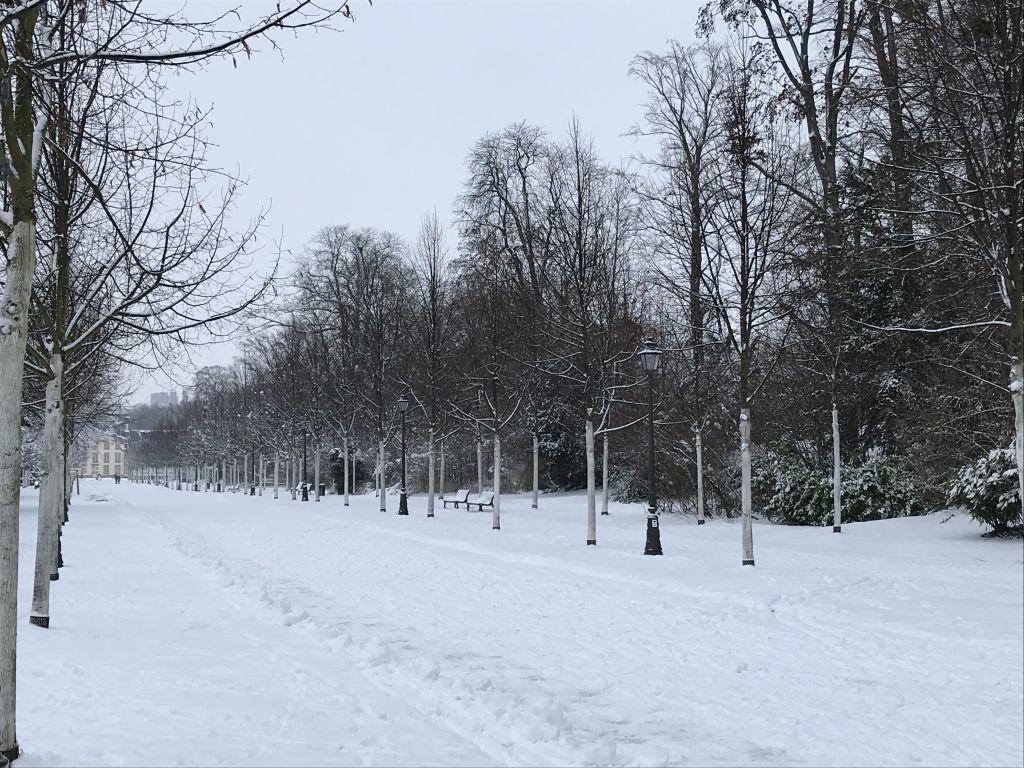 verschneiter Parc de l'Orangerie in Strasbourg