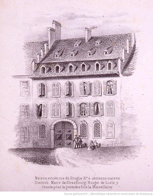 Ansicht Place Broglie No 4, Haus des Buergermeisters Dietrich ca. 1850