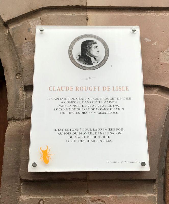 Plakette am Haus No 61 Grand Rue Strasbourg, wo Rouget de Lisle die Marseillaise komponierte