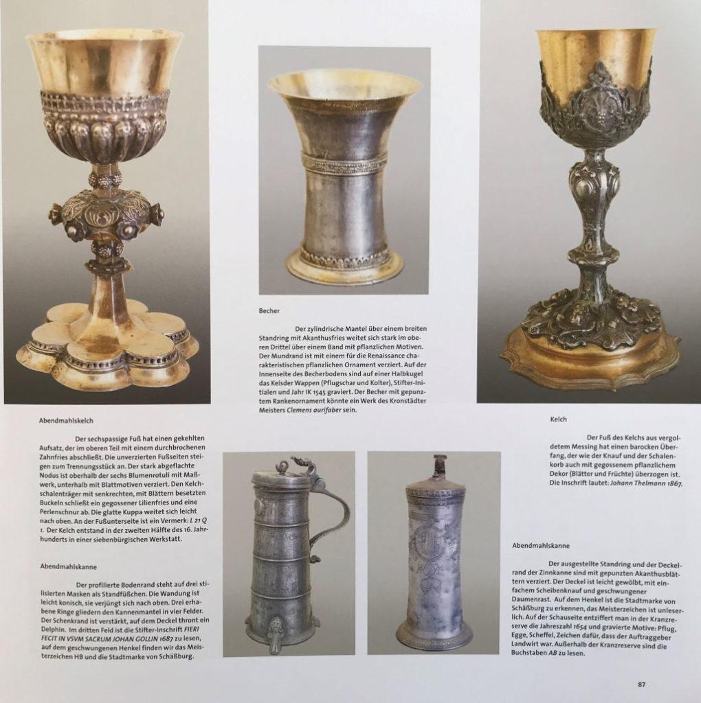 Abbildung von sakralen Gegenstaenden aus dem Buch Schässburg und die grosse Kokel