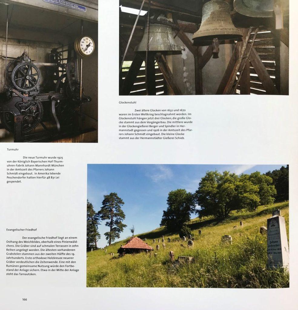 Abbildung Friedhof, Glocken und Turmuhr in Peschendorf aus dem Buch Schässburg und die grosse Kokel
