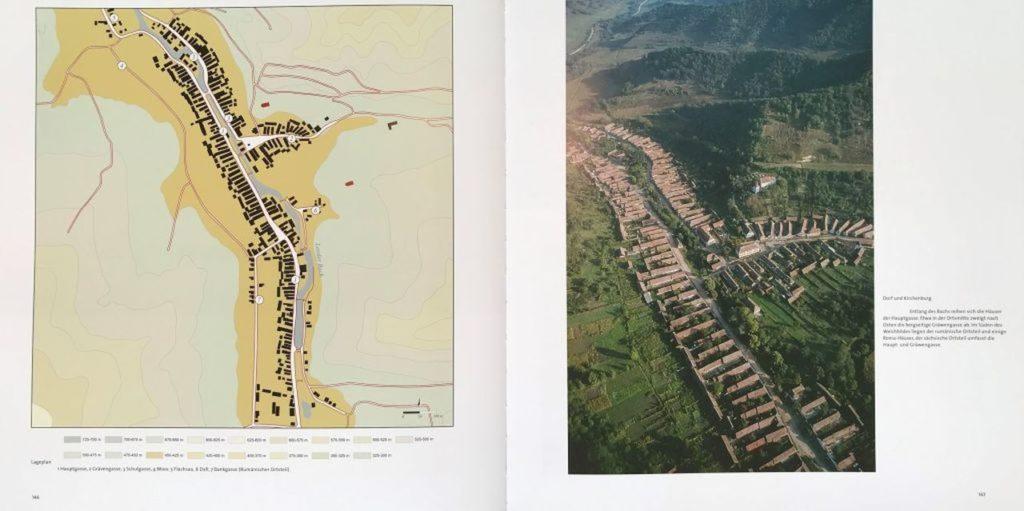 Dorfplan und Flugbild von Neudorf in Siebenbuergen aus dem Buch Schässburg und die grosse Kokel