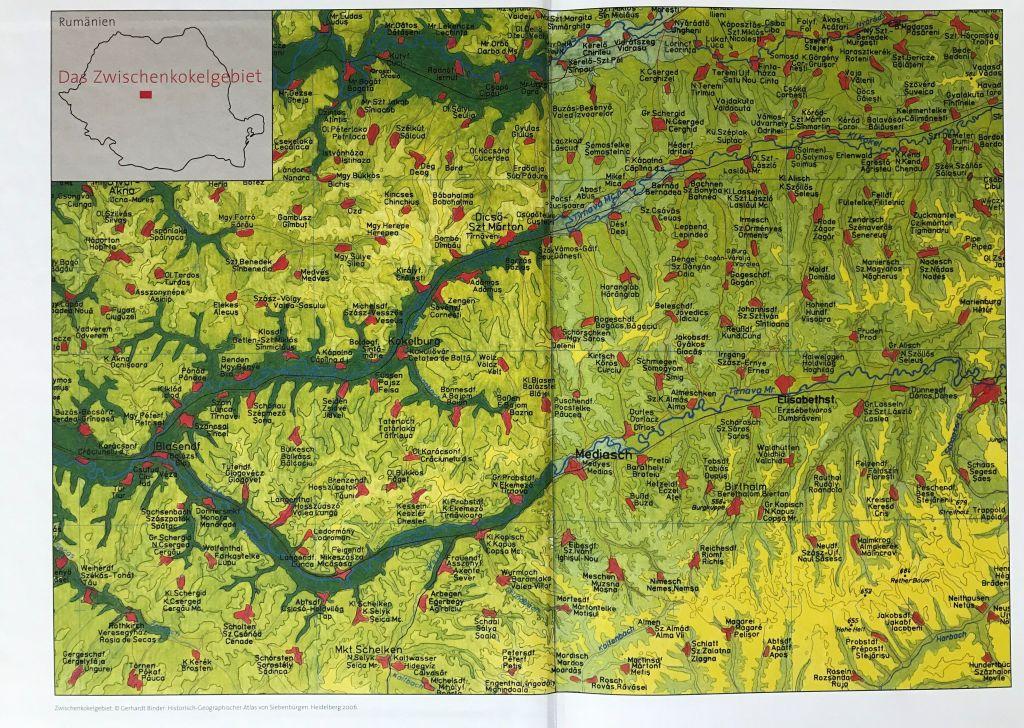Uebersichtskarte aus dem Buch Einblicke ins Zwischenkokelgebiet von Martin Rill