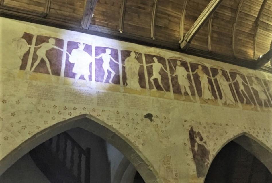 Wandgemaelde Danse macabre in der Kapelle Kermaria an Iskuit, Bretagne