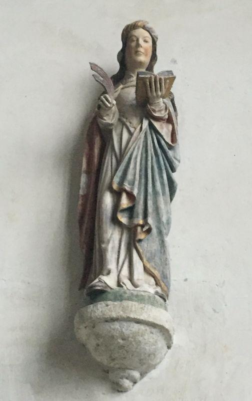 Holzstatue Hl. Katharina in der Kapelle Kermaria an Iskuit, Bretagne