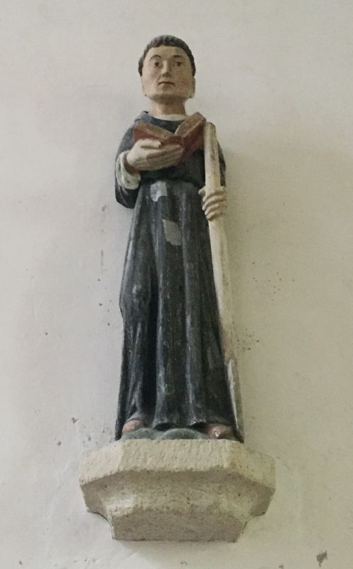 Holzstatue Saint Fiacre in der Kirche Ker Maria an Iskuit